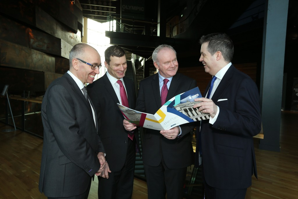 Kevin Kingston, Danske CEO; Nigel Maxwell, NIIRTA Chairman; Deputy First Minister Martin McGuinness; and NIIRTA CEO Glyn Roberts